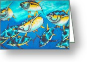 Pelagic Fish Tapestries - Textiles Greeting Cards - Crossin the Atlantic Greeting Card by Daniel Jean-Baptiste