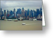 Skyscraper Mixed Media Greeting Cards - Crossing Hudson River - New York City Greeting Card by Dan Haraga