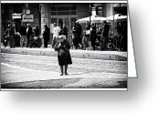 Old Lady Greeting Cards - Crossing in Rome Greeting Card by John Rizzuto