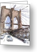 Brooklyn Bridge Mixed Media Greeting Cards - Crossing Over Greeting Card by Russell Pierce