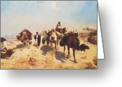 Spice Painting Greeting Cards - Crossing the Desert Greeting Card by Jean Leon Gerome