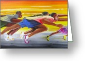 Jogging Greeting Cards - Crossing The Finish Line Greeting Card by Chuck Collins