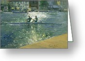 Water Athletes Greeting Cards - Crossing the Light Break - Henley Greeting Card by Timothy Easton