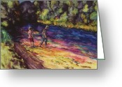 Batik Greeting Cards - Crossing the Stream Greeting Card by Carolyn Doe