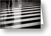 Clothing Greeting Cards - Crosswalk In Rain Greeting Card by photo by Jason Weddington