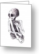 Health Drawings Greeting Cards - Crouched Skeleton Greeting Card by Michal Boubin