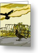 Wacom Tablet Greeting Cards - Crow Calling Greeting Card by Peggy Wilson