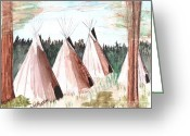  Parks Drawings Greeting Cards - Crow Camp Montana Greeting Card by Windy Mountain