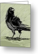Wacom Tablet Greeting Cards - Crow in Rain Greeting Card by Peggy Wilson