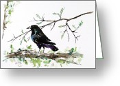 Blackbirds Greeting Cards - Crow On Branch Greeting Card by Carolyn Doe