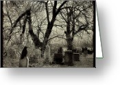 Graveyard Digital Art Greeting Cards - Crow Waits On Tombstone Greeting Card by Gothicolors With Crows
