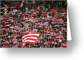 Soccer Stadium Greeting Cards - Crowd Of Fans Raise Scarves In Support Of Red Star, One Of Sebias Premier Soccer Teams Greeting Card by Greg Elms