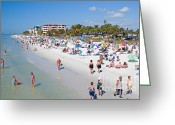 Sun Tan Greeting Cards - Crowd on a Summer Beach in Ft Meyers Florida Greeting Card by ELITE IMAGE photography By Chad McDermott