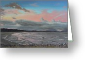 Dusk Pastels Greeting Cards - Crowdy Bay At Dusk Greeting Card by Louise Green