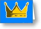 Stencil Greeting Cards - Crown Graphic Design Greeting Card by Pixel Chimp