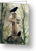 Passerines Greeting Cards - Crows And Old Cross Greeting Card by Gothicolors With Crows