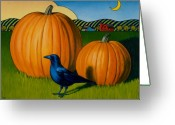 Pumpkin Farm Greeting Cards - Crows Harvest Greeting Card by Stacey Neumiller