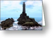 Clouds Posters Greeting Cards - Crows Nest Lighthouse Greeting Card by Mark Weller