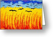 Modern Framed Prints Greeting Cards - Crows Over Vincents Field Greeting Card by John  Nolan