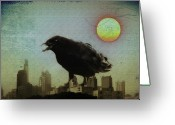 Crow Digital Art Greeting Cards - Crowzilla Greeting Card by Bill Cannon