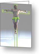 Sacred Digital Art Greeting Cards - Crucified color pistachio Greeting Card by Joaquin Abella Ojeda
