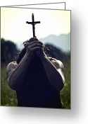 Backlight Greeting Cards - Crucifix Greeting Card by Joana Kruse