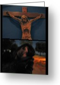 West Greeting Cards - Crucifixion Greeting Card by James W Johnson
