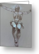 Human Body Symbolism Drawings Greeting Cards - Crucifixion Greeting Card by Valeriy Mavlo