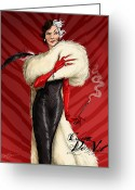 Drawn Greeting Cards - Cruella De Vil Greeting Card by Christopher Ables