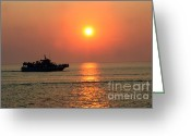 Gloaming Greeting Cards - Cruise at Dusk 2 Greeting Card by Susan Stevenson