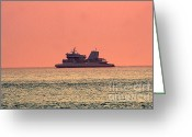 Gloaming Greeting Cards - Cruise At Dusk Greeting Card by Susan Stevenson