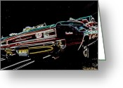 Neon Art Greeting Cards - Cruise Night Greeting Card by DJ Florek