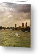 Cruise Ship Greeting Cards - Cruise On River Thames In London - England Greeting Card by Alexandre Fundone