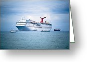 Cayman Greeting Cards - Cruise Ship on the Ocean Greeting Card by Inti St. Clair
