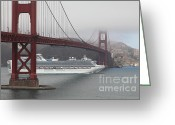 Cruise Ships Greeting Cards - Cruise Ship Sapphire Princess Under Foggy San Francisco Golden Gate Bridge - 5D18881 Greeting Card by Wingsdomain Art and Photography
