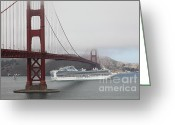 Cruise Ships Greeting Cards - Cruise Ship Sapphire Princess Under Foggy San Francisco Golden Gate Bridge - 5D18882 Greeting Card by Wingsdomain Art and Photography