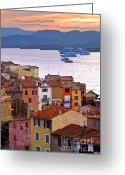 Dusk Greeting Cards - Cruise ships at St.Tropez Greeting Card by Elena Elisseeva