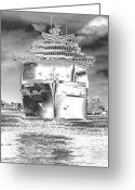 Cruise Ships Greeting Cards - Cruise Ships in Chrome Greeting Card by Carol Groenen