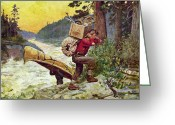 Camping Greeting Cards - Cruisers Making A Portage Greeting Card by JQ Licensing
