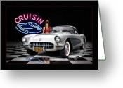 1957 Corvette Greeting Cards - Cruisin The Diner .... Greeting Card by Rat Rod Studios