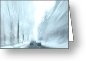 Winter Road Greeting Cards - Cruising in a Snowstorm Greeting Card by Karol  Livote