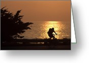 Bike Rider Greeting Cards - Cruising PCH Greeting Card by Gilbert Artiaga