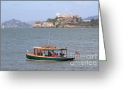 Light Houses Greeting Cards - Cruizing The San Francisco Bay On The Pier 39 Boat Taxi With Alcatraz Island in The Distance.7D14322 Greeting Card by Wingsdomain Art and Photography