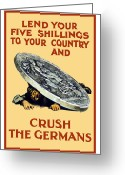 Great Mixed Media Greeting Cards - Crush The Germans Greeting Card by War Is Hell Store