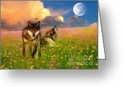 Wolves Mixed Media Greeting Cards - Cry At The Moon Greeting Card by Zeana Romanovna