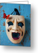 Threatening Greeting Cards - Crying mask and red butterfly Greeting Card by Garry Gay