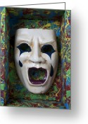 Masks Greeting Cards - Crying mask in box Greeting Card by Garry Gay