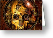 Death Head Greeting Cards - Cryptic Time Course  Greeting Card by Franziskus Pfleghart