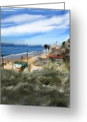 Seaside Mixed Media Greeting Cards - Crystal Cove Greeting Card by Russell Pierce
