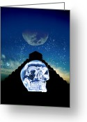 Mayan Mythology Greeting Cards - Crystal Skull And Maya Pyramid, Artwork Greeting Card by Victor Habbick Visions